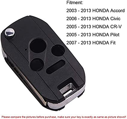 LOT OF 10 For 2006-2011 Honda Civic CRV Odyssey Remote Key Fob Uncut Shell Case