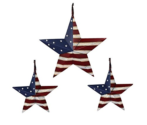 Set of 3 Americana Patriotic Wall Decor Star Wall Barn Metal 3D Fence Stars