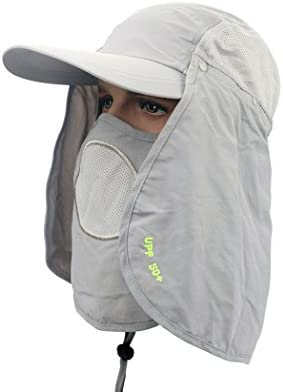 Ace Select Anti-UV UPF 50 Ultralight Breathable Flap Hat Neck Protection Cap w Removable Sun Shield Mask for Outdoor Fishing Hiking Garden Work – Ideal for Retirees, Outdoorsman