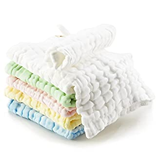 Kidpar 6 Pack Soft Cotton Washcloths Natural Newborn Baby Muslin Wash Cloths Face Body Towel with High Water Absorption, Suitable for Sensitive Skin, Organic Wipe Gift Set for Boys and Girls, 6 Pack