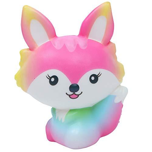 Staron Jumbo Squishies Slow Rising Fox Kawaii Animals Squishy Charms Exquisite Lovely Fox Soft Squishy Toys (Pink)