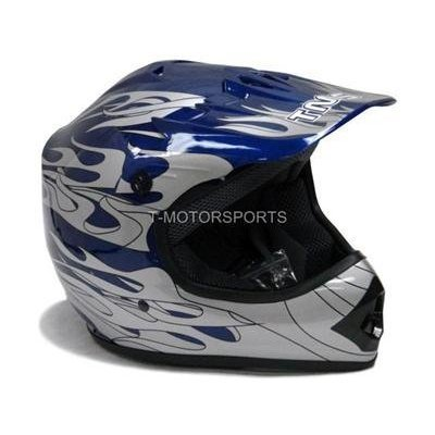 TMS Youth Kids Blue Flame Dirt Bike Motocross Helmet Atv Mx (Large)