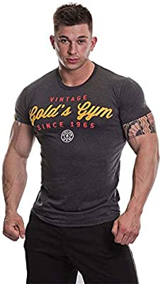 Golds Gym UK - Camiseta de Manga Corta para Hombre, diseño Retro, Hombre, Camiseta de Estilo Vintage, GGTS067_Charm_XL, Gris Oscuro, XL: Amazon.es: Deportes y aire libre