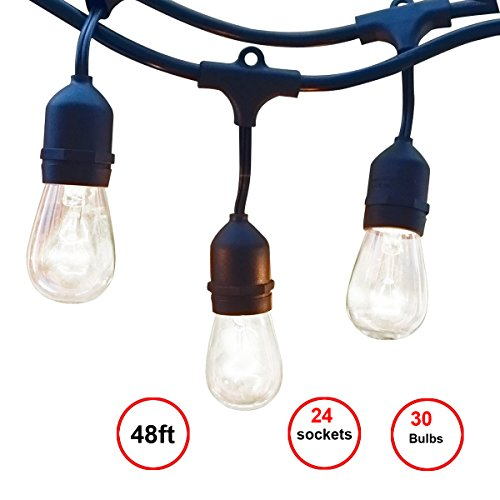 48ft String Lights with 24 x E26 Dropped Sockets and Hanging Loops - 30 x 11 Watt S14 Bulbs Included (6 Spares), Indoor/Outdoor Light Strings, String of lights. (Commercial Lights compare prices)
