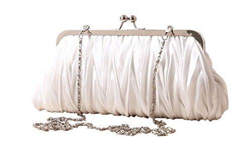 (White) Women Vintage Satin Pleated Evening Cocktail Wedding Party Handbag Clutch Purse (Satin Makeup Bag)