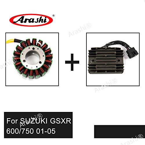 Arashi Engine Stator Coil and Voltage Regulator for SUZUKI GSXR 600 750 2001-2005 Motorcycle Replacement Accessories Rectifier GSX R650 R750 GSXR600 GSXR750 2002 2003 2004