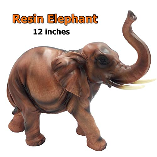 SAVERSMALL Resin Elegant Elephant Statue Lucky Wealth Figurine Sculpture Miniature Collectibles Gift Home Decoration Crafts (Sculpture Resin Elephant)