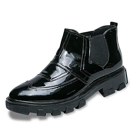 Shukun Botas de hombre Zapatos de tacón Alto Zapatos de Hombre Botas de Martin Botines de Hombre Ocasionales Botas de Cuero para Estilista de Cabello Mayor: ...