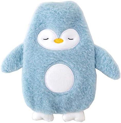 PW Niedlicher Pinguin Gummi Wärmflasche mit Plüschhülle Warme Leichensack 350 ml /12 Oz, Blau