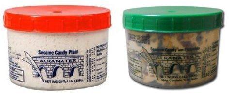 Alkanater Halawa, Sesame Candy x 2 PACK (Pistachio 1 Lb , Plain 1 Lb) Set