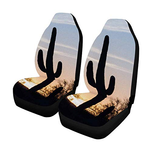 (INTERESTPRINT Arizona Desert Landscape at Sunset Saguaro Cactus Silhouetted Car Seat Cover Universal Cushion for Car Truck SUV Front Seats)