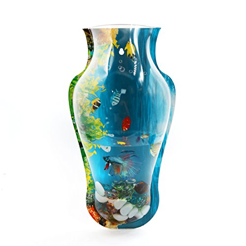 uxcell Acrylic Vase Shaped Wall Mounted Hanging Fishbowl Plant Pot 7.1inch High/1Gallon