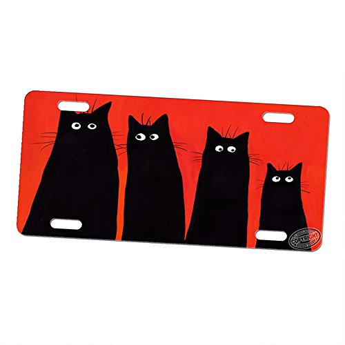 Art by Denise Every Aluminum Vanity License Plate Car Tag Sign - Long and Tall Black Spooky Kitties Abstract -
