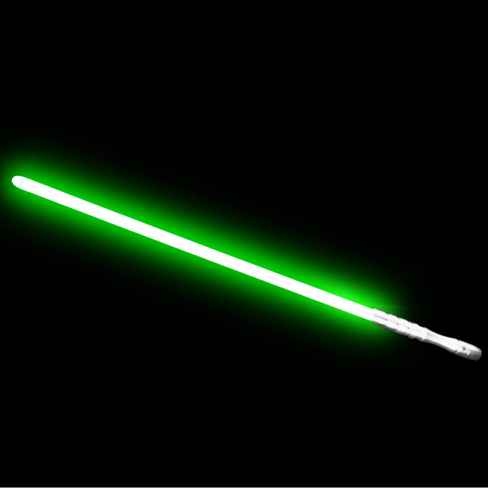 YDD Jedi Sith LED Light Saber, Force FX Heavy Dueling, Rechargeable Lightsaber, Loud Sound High Light with FOC, Metal Hilt, Blaster, Christmas Toy Gift (Silver Hilt Green Blade)