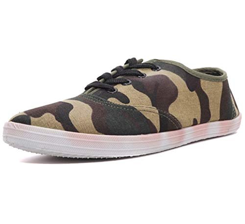Charles Albert Women's Canvas Lace Up Sneakers Shoes (11, Camouflage)