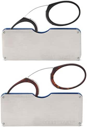 DOUBLETAKE 2 Pairs of Pince Nez Style Nose Resting Pinching Portable Reading Glasses with No Temple Arms Readers for Men and Women - Choose Your Magnification