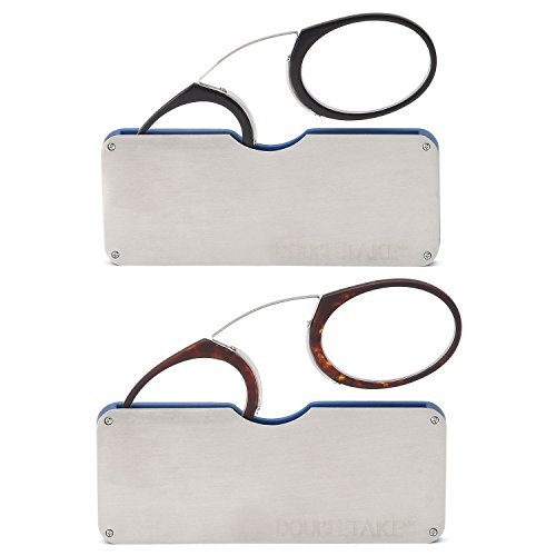 DOUBLETAKE 2 Pairs of Pince Nez Style Nose Resting Pinching Portable Reading Glasses with No Temple Arms Readers for Men and - Slim Glasses