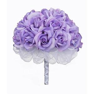Lavender Silk Rose Hand Tie (2 Dozen Roses) - Bridal Wedding Bouquet 37