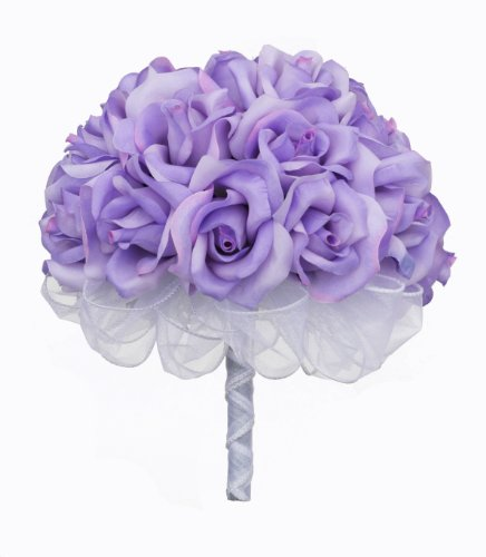 (Lavender Silk Rose Hand Tie (2 Dozen Roses) - Bridal Wedding)