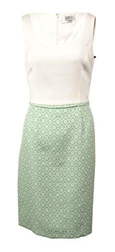 Tahari Women's Floral Jacquard Twofer Sheath Dress (8, Ivory/Pastel Green)