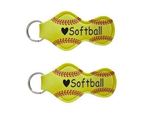 Softball Gift Idea for Girl Teen Player Mom Coaches Key Chain Lip Balm Holder - Set of 2