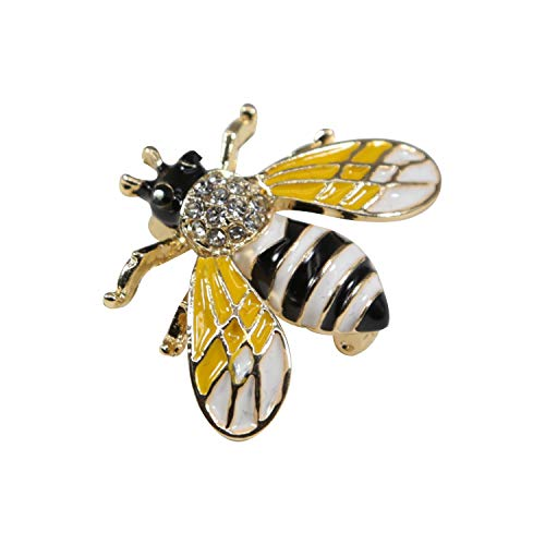 ZUOZUOYA Honey Bee Brooches,Colored Drawing and Gold Tone]()
