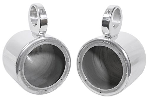 "Pair Rockville MAC65S 6.5"" Polished Silver Aluminum Wakeboard Tower Speaker Enclosures"