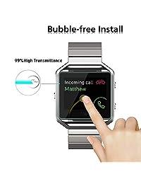(Paquete de 4) Protector de pantalla de vidrio templado para reloj inteligente Fitbit Blaze, Akwox [0,3 mm 2,5 D alta definición 9H]   Película protectora transparente Premium Fitbit Blaze