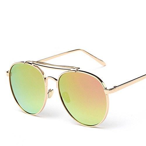 Chahua La tendance des lunettes de soleil pour hommes lunettes de mode cadre métallique film couleur personnalisé, un visage rond, lunettes de soleil
