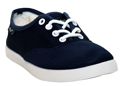 A&H Footwear New Womens Ladies Plimsolls Lace up Flat Pumps Canvas Girls Casual Trainers Shoes Size UK 4 5 6 7 Blue