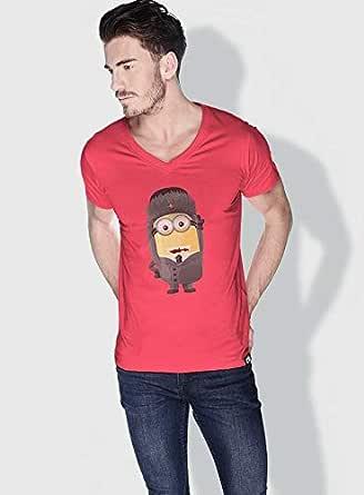 Creo Russia Minions Vshape Neck T-Shirt For Men - Pink, L