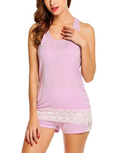 Racerback Tank Pajama (Avidlove Women's Sleeveless Pajama Set Lace Racerback Tank and Shorts Sleepwear S-XXL)