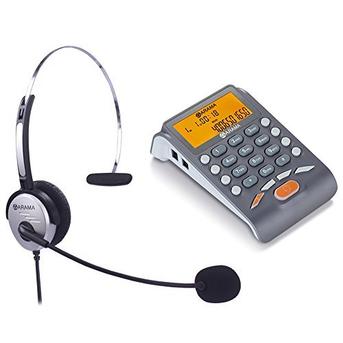 (Corded Headset Telephone with Noise Cancelling Headset, ARAMA Landline Caller ID Phone, Fully Functional Dialpad, Clear Hands Free Calls, Ultra Comfort & Durable)