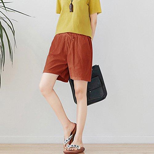 Unita Per Lino Pantaloncini Jitong Plus Donna Spiaggia Corti Casuale Pantaloni Comfort Tinta Size Rosso Da vwttx8qP1