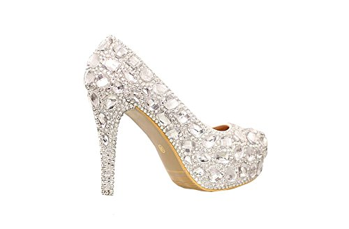 Neue Frau Plattformen Silber Strass Plattformpumpen prom heels high heels Kristallabsatzschuhe Hochzeitsschuhe der Frauen