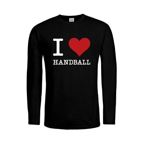 dress-puntos Kids Kinder Langarm T-Shirt I Love Handball drpt-ktls00807-10 Textil black / Motiv weiss Gr. 140