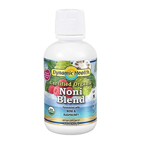 Dynamic Health Certified Organic Noni (Morinda Citrifolia) Blend W/ raspberry | for Increased Energy & Body Health | No Additives, vegetarian | 16oz