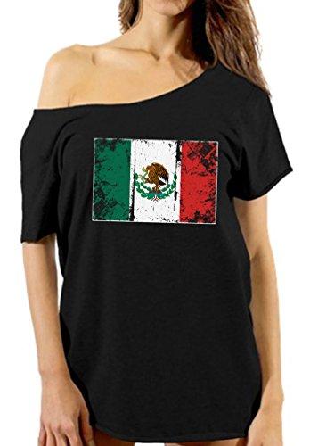 Vizor Mexico Flag Off Shoulder Shirt Women's Mexico Tshirt Mexican Flag Gifts Black - Flag T-shirt Mexico