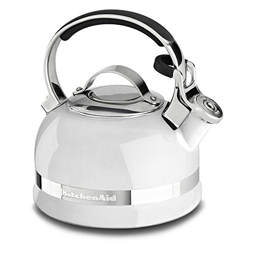 KitchenAid KTEN20SBWH 2.0-Quart Kettle with Full Stainless Steel Handle and Trim Band - White
