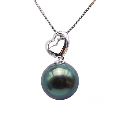 JYX 18K Gold 10.5mm Peacock Green Round Tahitian Pearl Pendant Necklace