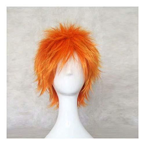 NiceLisa Short Orange Fluffy Boy Man Anime Convention Manga Character Comic Halloween Costume Play Cosplay Wigs -