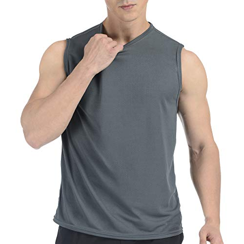Sleeveless Shirt for Men, Cool Dry fit Athletic Workout Tank Top, Running Gym Basketball Muscle Bodybuilding Undershirt