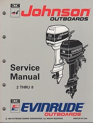 Johnson Service Manual (1993 JOHNSON EVINRUDE OUTBOARD 2 THRU 8 HP p/n 508281 SERVICE MANUAL (676))