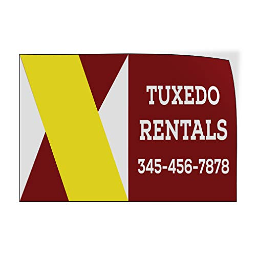 Custom Door Decals Vinyl Stickers Multiple Sizes Tuxedo Rentals Phone Number Business Tuxedo Rentals Outdoor Luggage & Bumper Stickers for Cars Red 45X30Inches Set of 2 ()