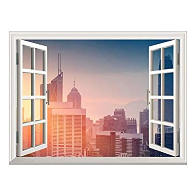 Removable Wall Sticker/Wall Mural - Modern Cityscape at Sunrise | Creative Window View Wall Decor - 24