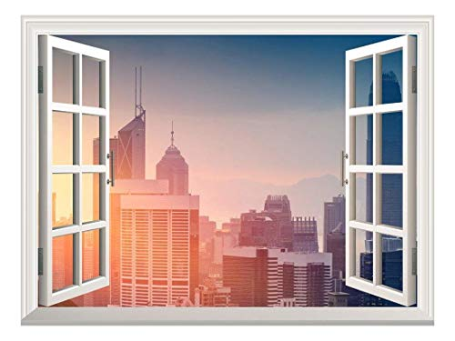 Removable Wall Sticker Wall Mural Cityscape at Sunrise Creative Window View Wall Decor