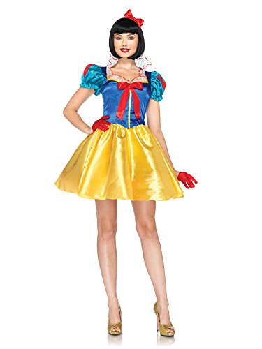 Disney Adult Snow White Costumes (Leg Avenue Disney 2Pc. Classic Snow White Costume Dress with Bow Head Piece, Blue/Yellow/White, Small/Medium (S/M, P/M))