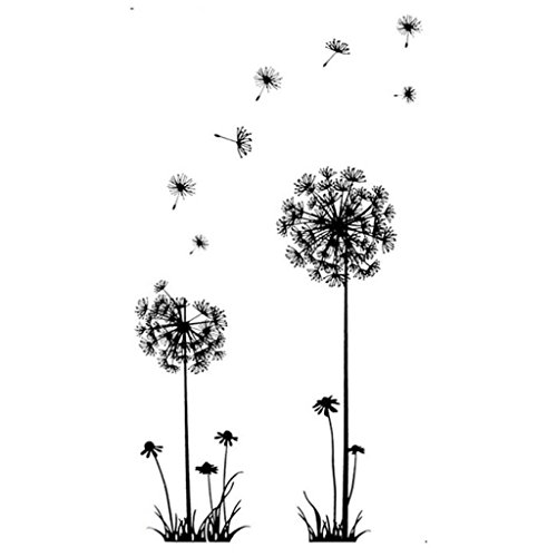 Price comparison product image Lowprofile Black Creative PVC Dandelion Flower Plant Tree Large Removable Home Wall Decal