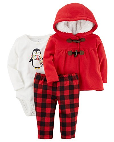 - Carter's Baby Girls 3 Piece Cardigan Bodysuit and Pants Set, Red Toggle, 9 Months