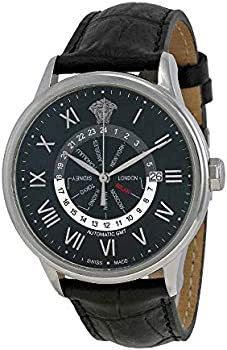 Versace Business Automatic GMT Black Dial Leather Men's Watch